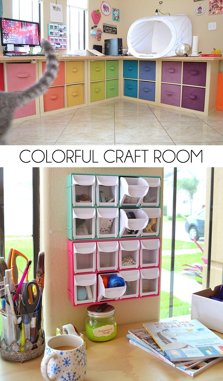 My colorful craft room storage and decor dream a little for Organizing living room family picture ideas