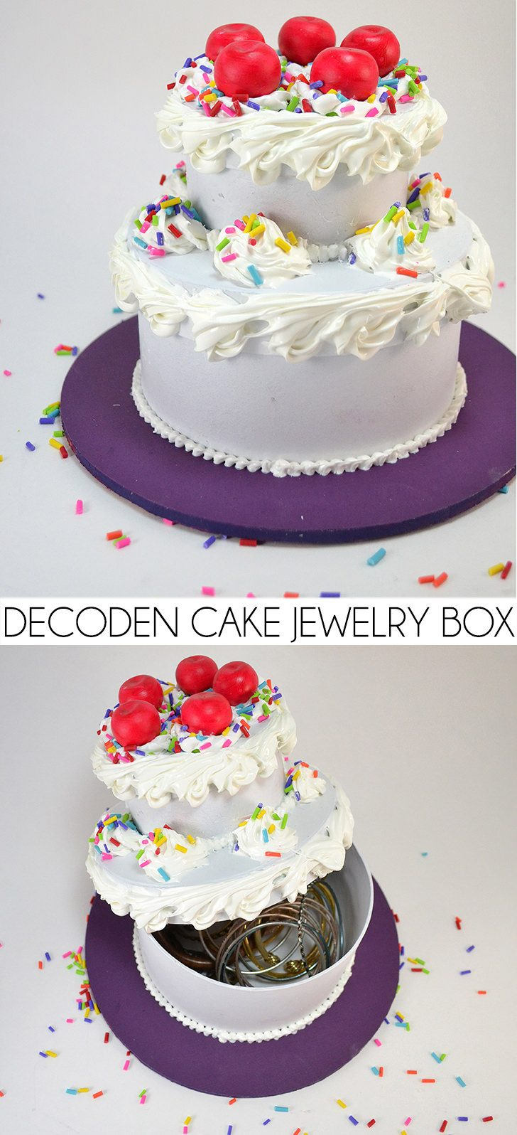Silicone caulk decoden turns paper mache boxes into an awesome fake cake jewelry box! Get the full tutorial...