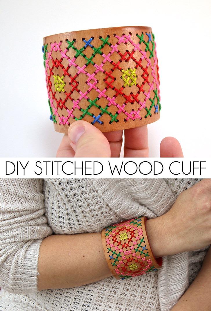 DIY Stitched Wood Cuff