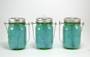 I am in love with these mason jar citronella torches. So easy and so inexpensive for so much charm!