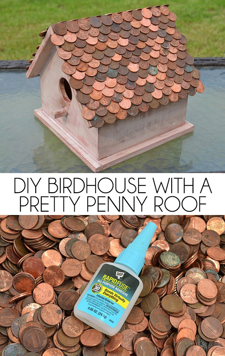 Diy Birdhouse With A Pretty Penny Roof Dream A Little Bigger