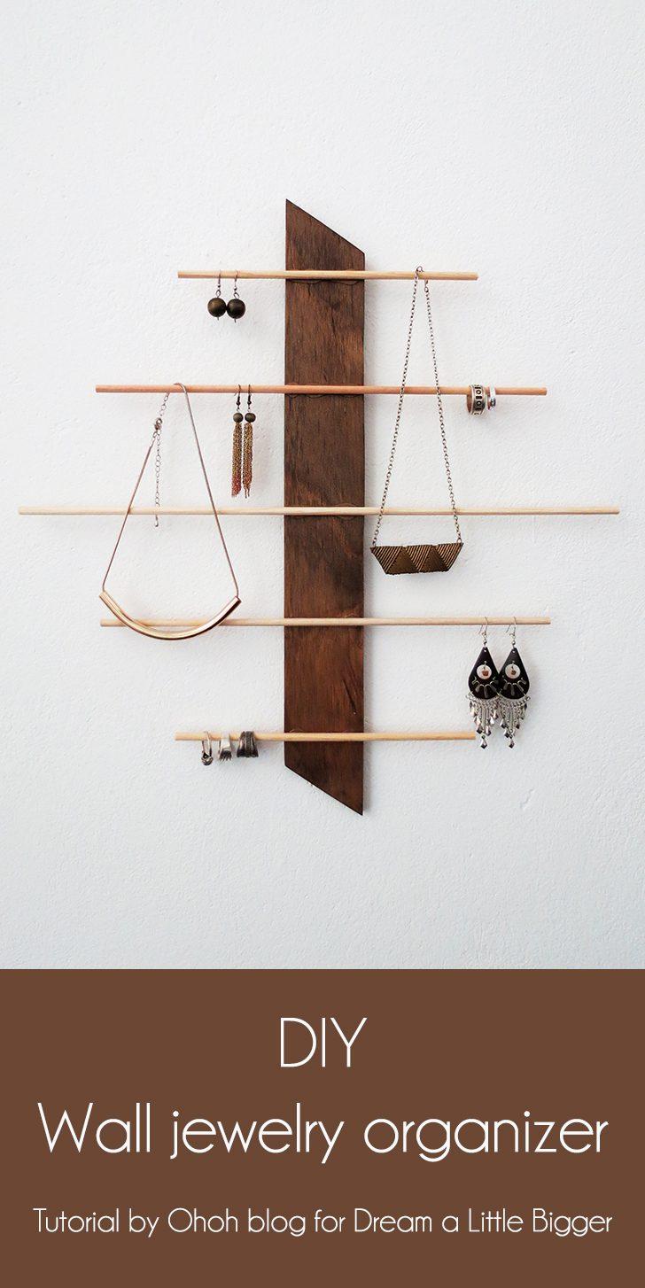 DIY wall jewelry organizer