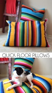 Turn throw blankets into super quick floor pillows with this easy to follow tutorial!