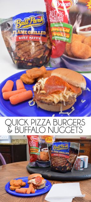 Need to give the kids a quick fix for a snack or meal? TMNT inspired pizza burgers with the perfect complement of buffalo nuggets is a quick microwave meal that will leave them satisfied!