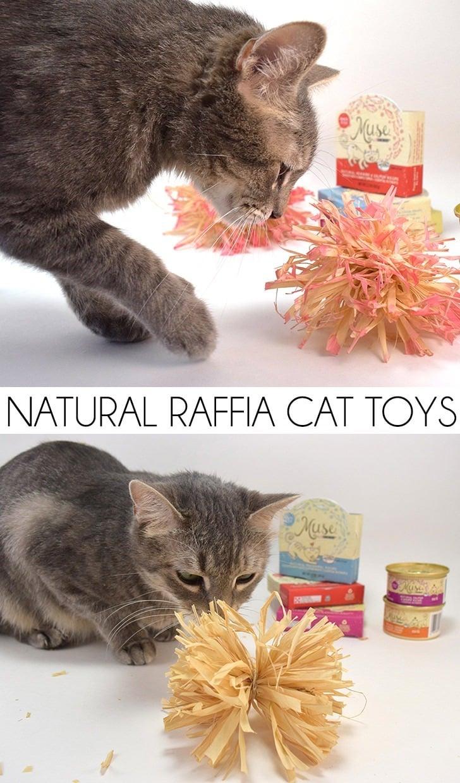 Natural Raffia Cat Toys Tutorial