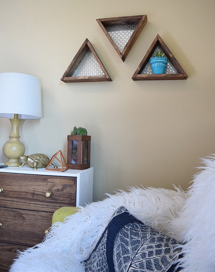 These geometric shelves are so easy and made for less than $15 for 3!