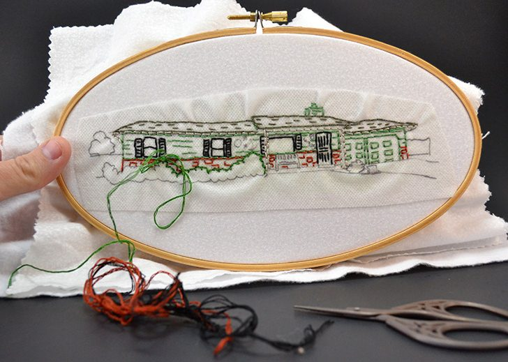 Turn your home into an embroidery pattern. What a great way to remember your first home!