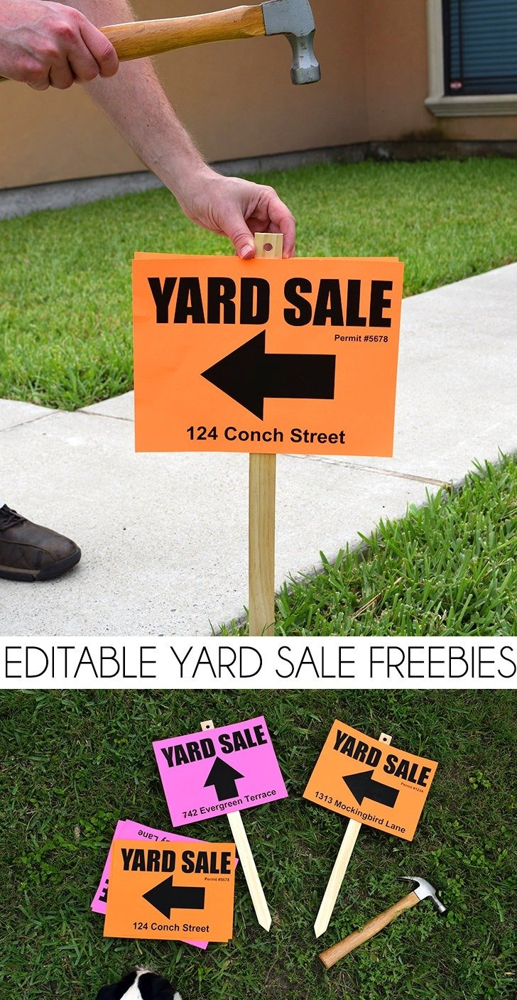 photo about Printable Yard Signs titled Editable Backyard Sale Signal Freebies ⋆ Aspiration a Minimal Larger