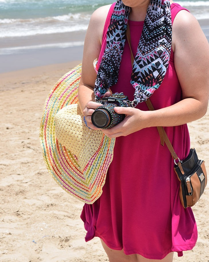 Turn your favorite scarf into a camera strap with this super easy DIY Scarf Camera Strap Tutorial!
