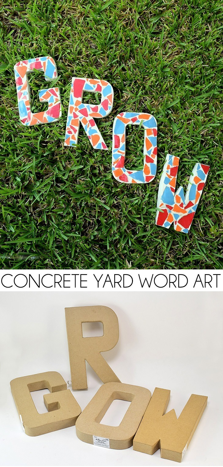 You cam make this concrete yard word art in so many colors and phrases! What a perfect way to complement the flowers in the garden!