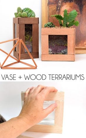 Update a plain vase with wood strips for an awesomely modern terrarium!