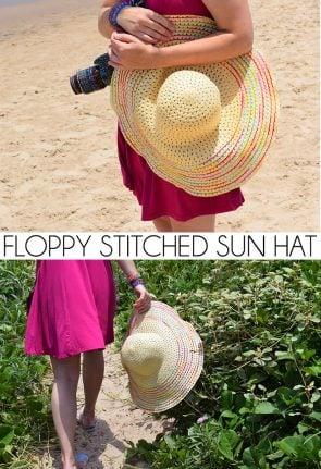 Protect yourself from the sun with this fun and inexpensive floppy stitched sun hat!