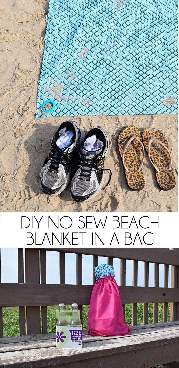 This DIY no sew beach blanket rolls up into a bag for easy carrying AND can be staked down for windy days. It's practically perfect!
