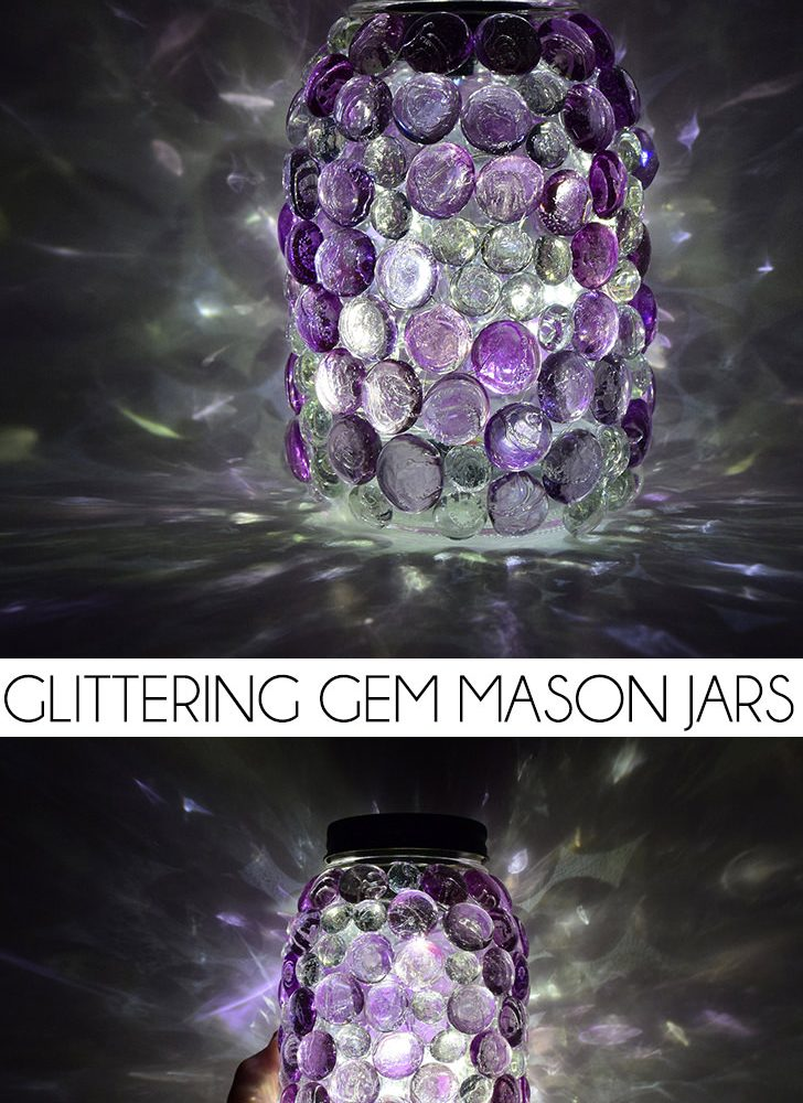 These glittering gem mason jars are a snap to make and so pretty! DIY Solar light lids mean they come on every night, too!