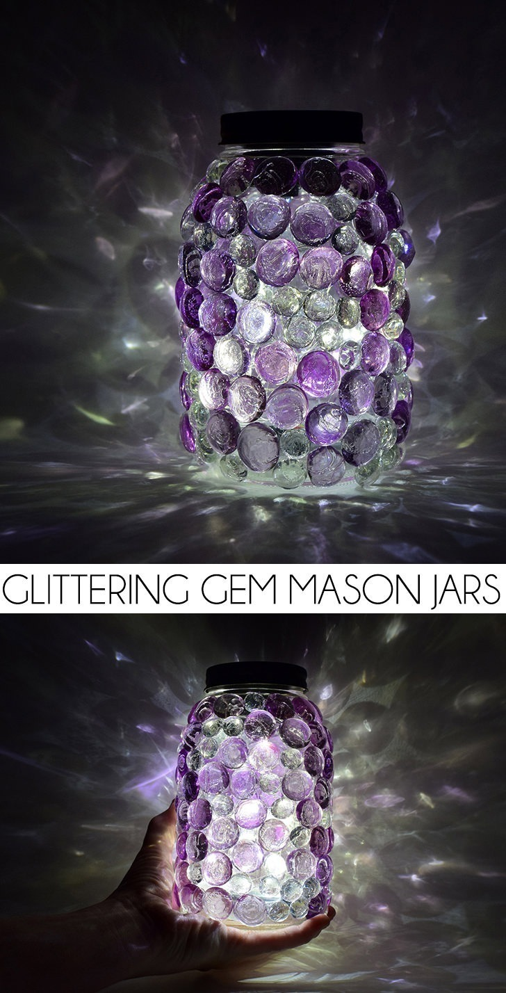 Glittering Gem Mason Jars with DIY Solar Lids