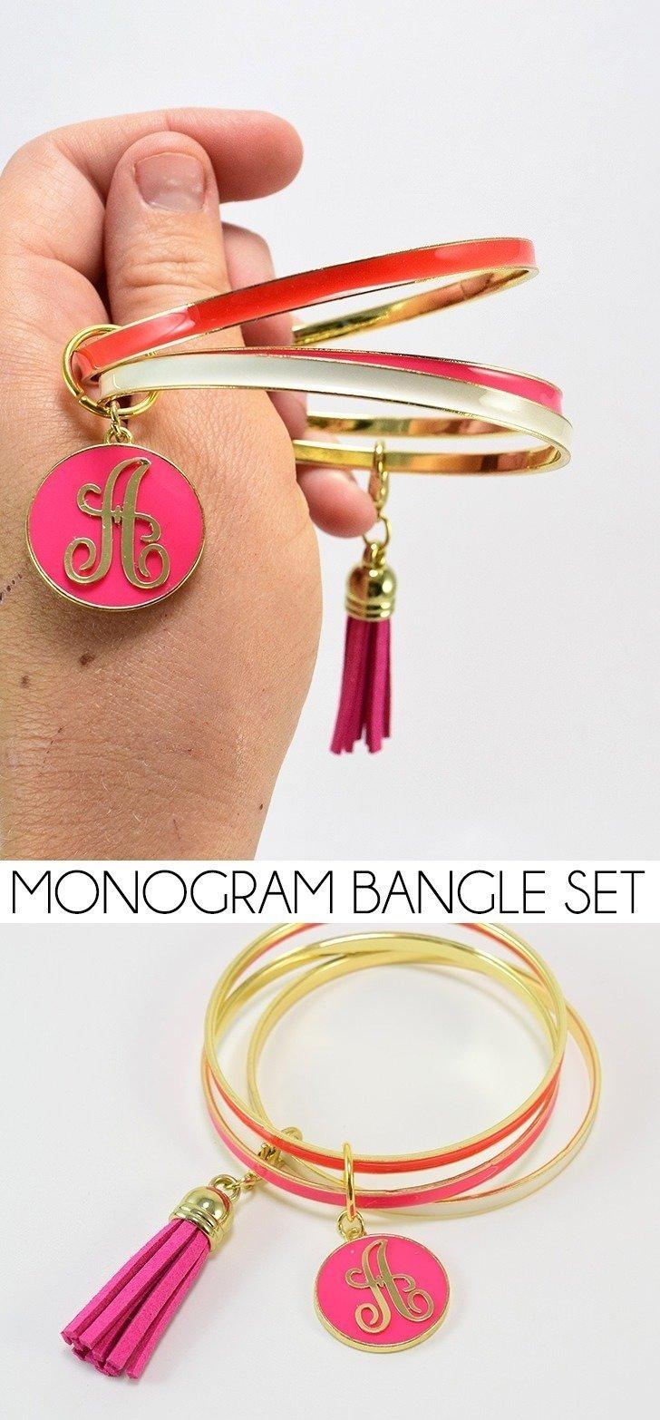 Monogram Bangle Bracelet Stack