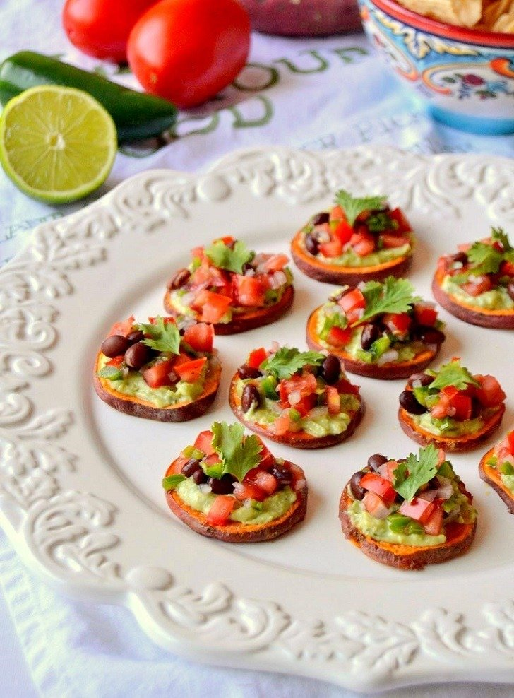 Sweet Potato Rounds with Cilantro Yogurt Sauce & Black Bean Pico