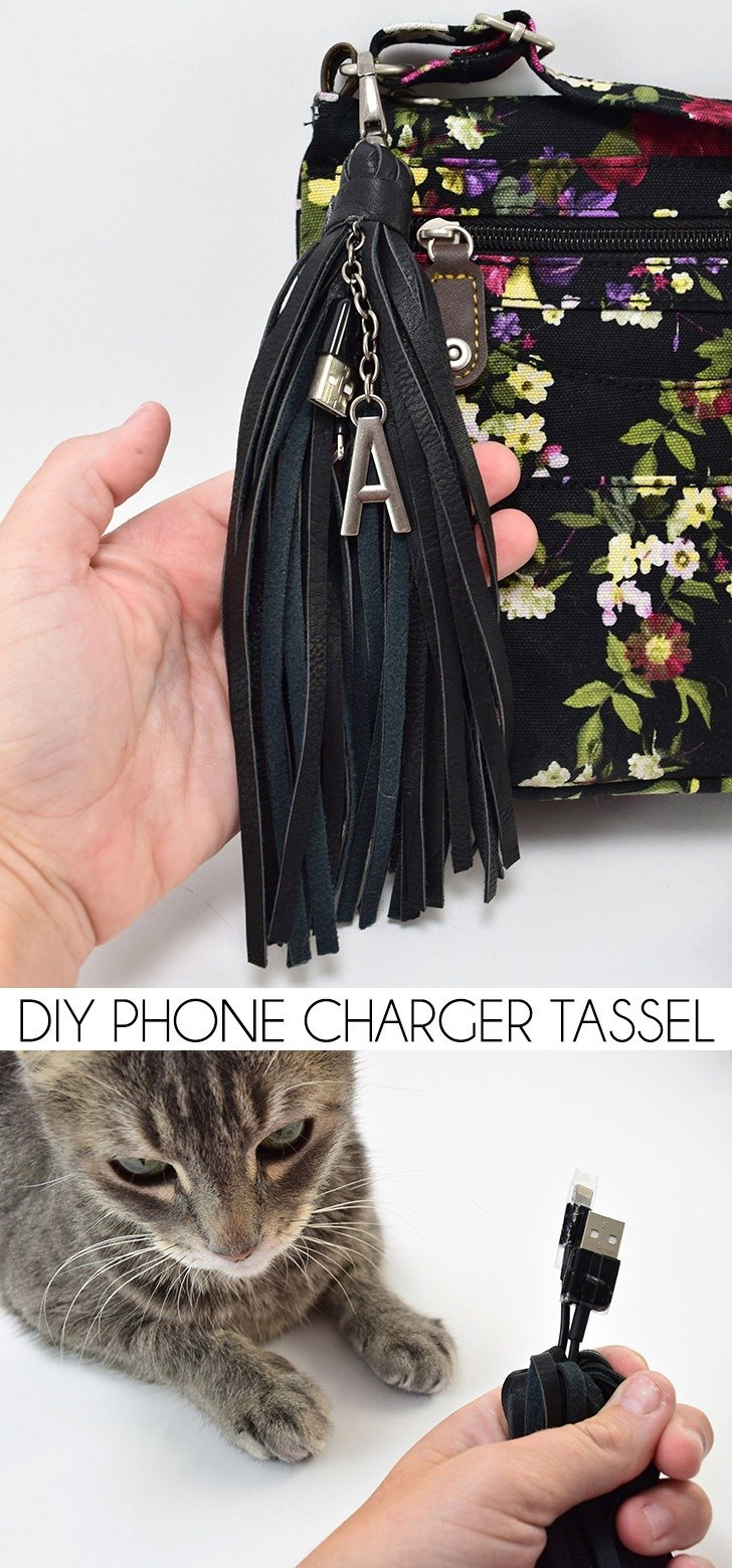 Keep your phone charged in style! This DIY phone charger tassel is super easy to make and hides in plain site on your purse!