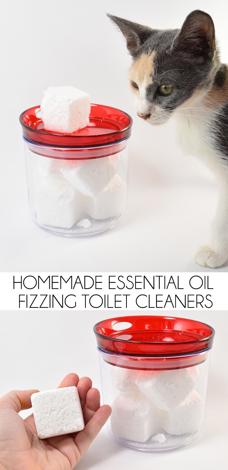 These homemade essential oil fizzing toilet cleaners are super easy to make with only 3 ingredients and keep your toilet sparkling with minimal effort!
