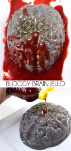 This bloody brain jello is a tasty Halloween treat that will gross the kiddos out!