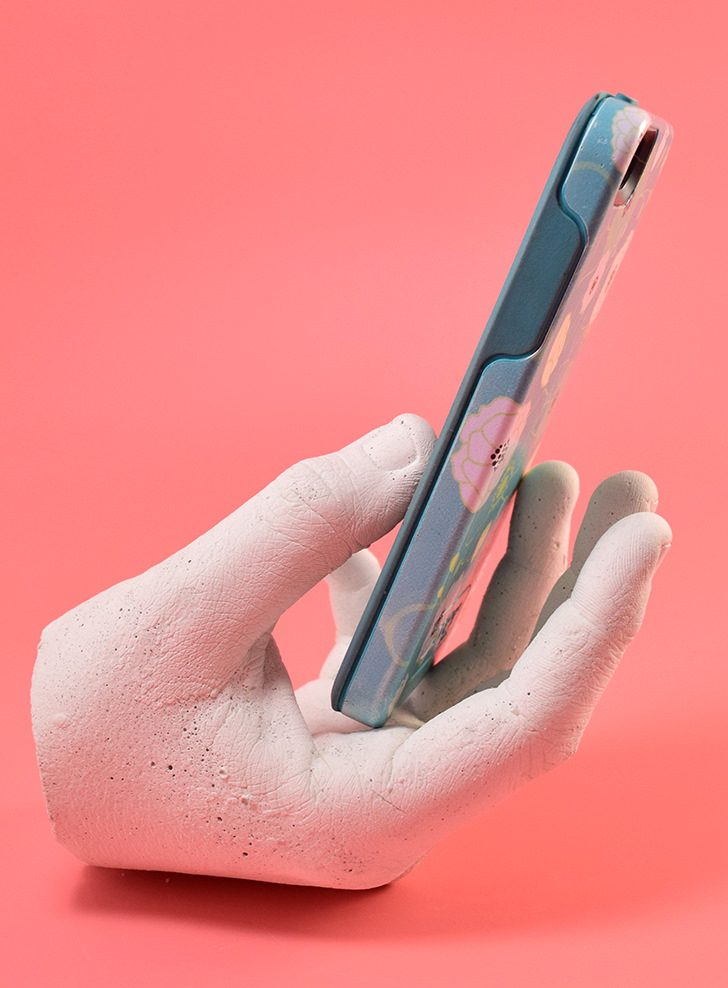 Make a copy of your hand in concrete to hold your phone for you. It looks so awesome on a desk or next to the bed!