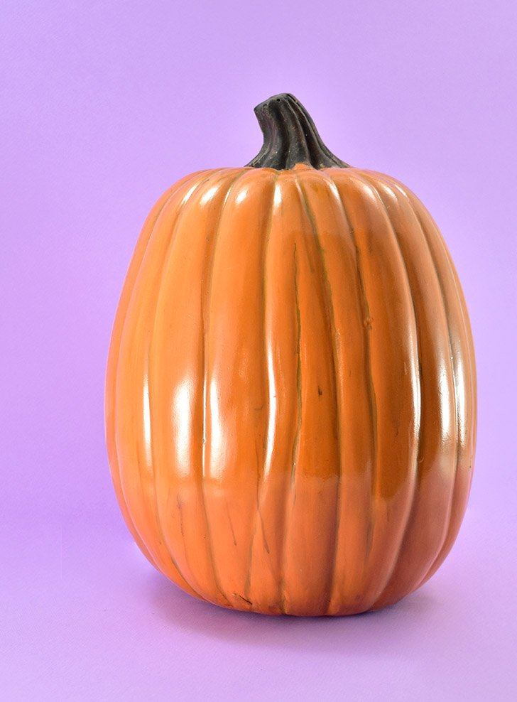 If you want to paint your fake pumpkin to look more realistic, do that and give it plenty of time to dry. Here's a link to that tutorial, again, if you need it: Paint Fake Pumpkins to Look Real (ish)