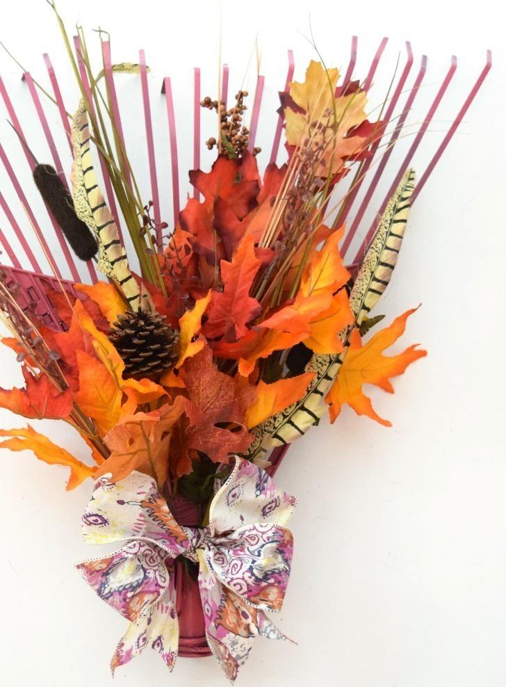 Fall Leaves Rake Wreath