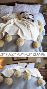 Want to add some super cute warmth to your favorite room? Make fuzzy pom poms to put on a store bought blanket for the ultimate throw!
