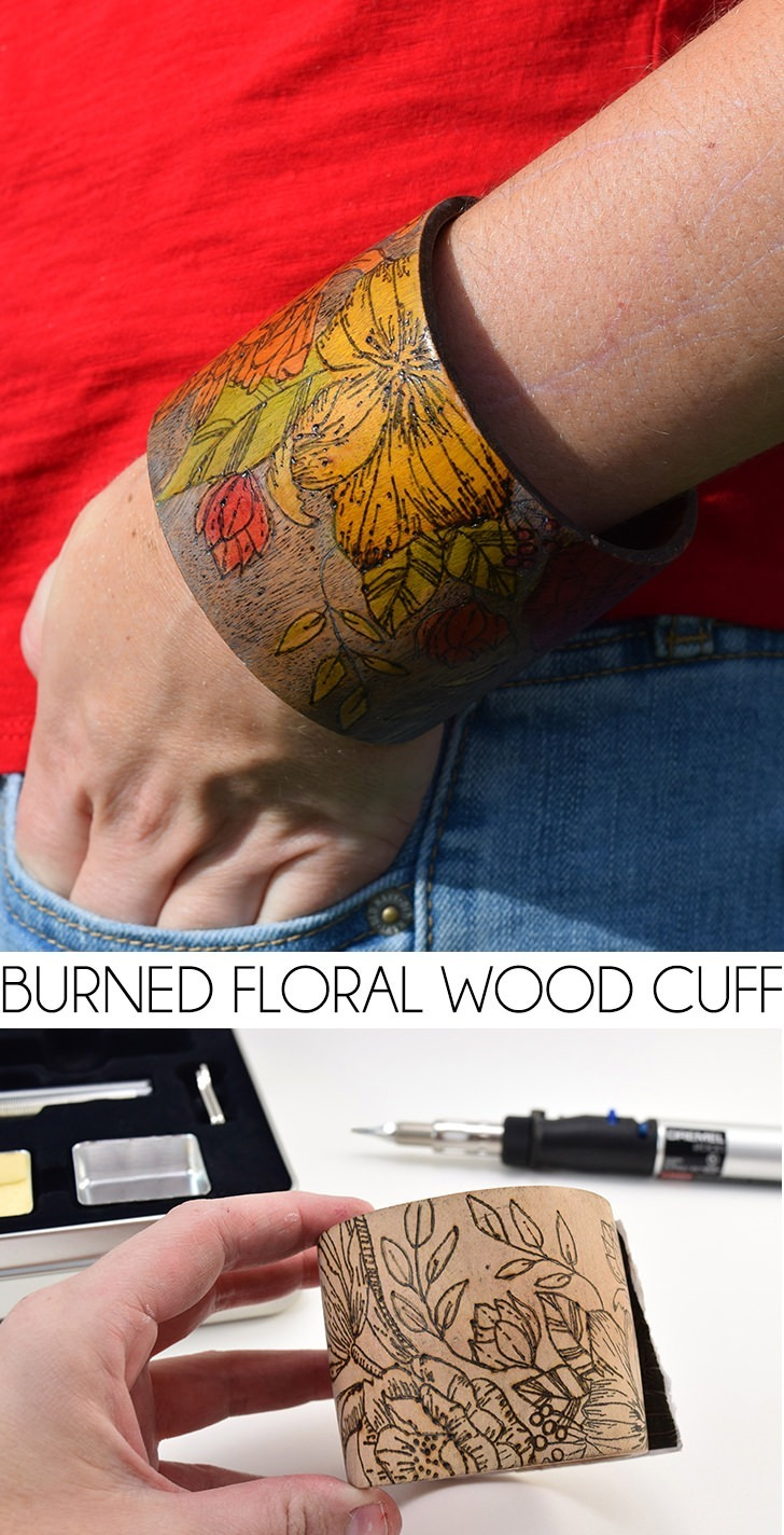Wood burn a floral pattern into a wood cuff and then beautifully stain it. I love this colorful bracelet so much!