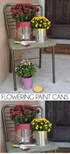 How cute is this? Add fall color to your decor with these simple flowering paint cans. So creative!
