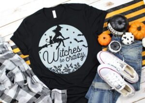 """How adorable is this """"witches be crazy"""" tee? Get the FREE Halloween SVG file to make your own witchy tee with any cutting machine!"""
