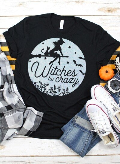 "How adorable is this ""witches be crazy"" tee? Get the FREE Halloween SVG file to make your own witchy tee with any cutting machine!"