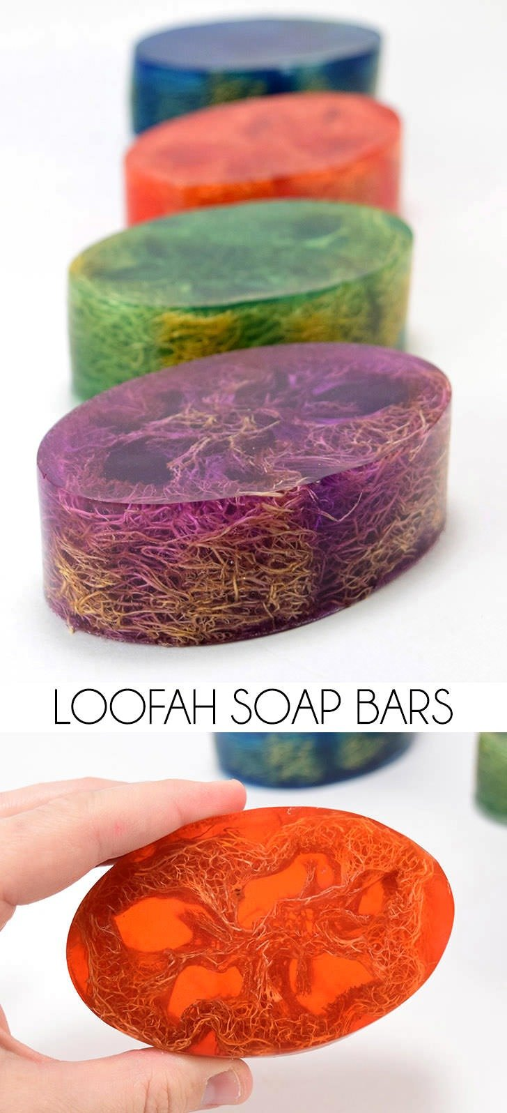 What a great gift! Make colorful loofah soap with pretty scents! It's surprisingly easy!