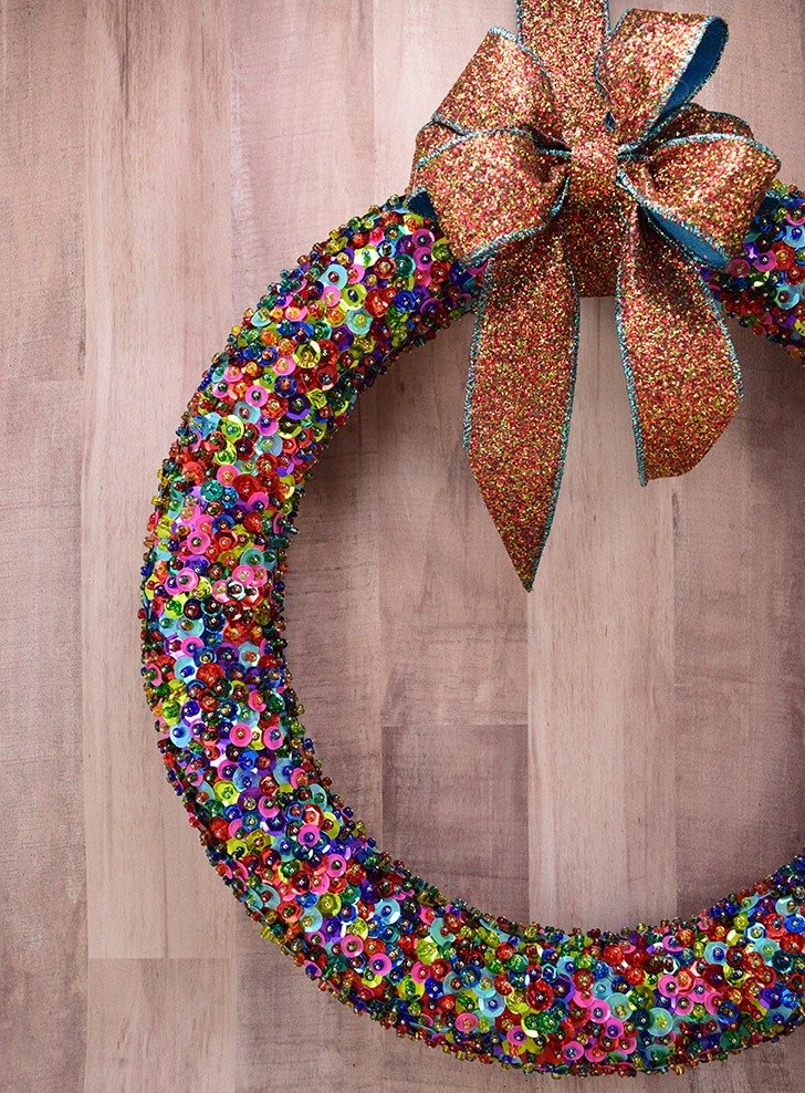 While a bit time consuming, this bead and sequin wreath is easy to make and absolutely stunning!