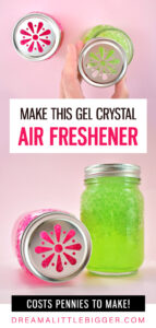 In less than 5 minutes you can a crystal gel air freshener for mere pennies in your favorite scent! See what garden supply we used...