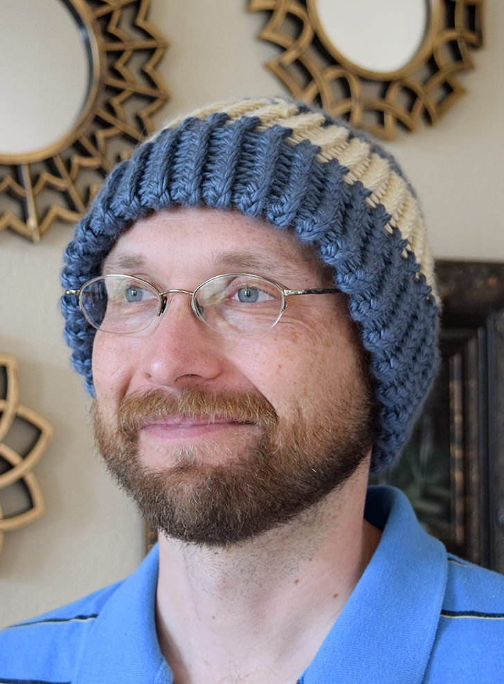 Make caps a bit warmer with a double-thick brim. It's so easy to loom knit a brim cap!