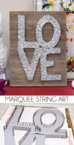 String art is still as hot as ever! Add lights and it's even hotter! Check out this marquee string art tutorial. It looks stunning in the dark!