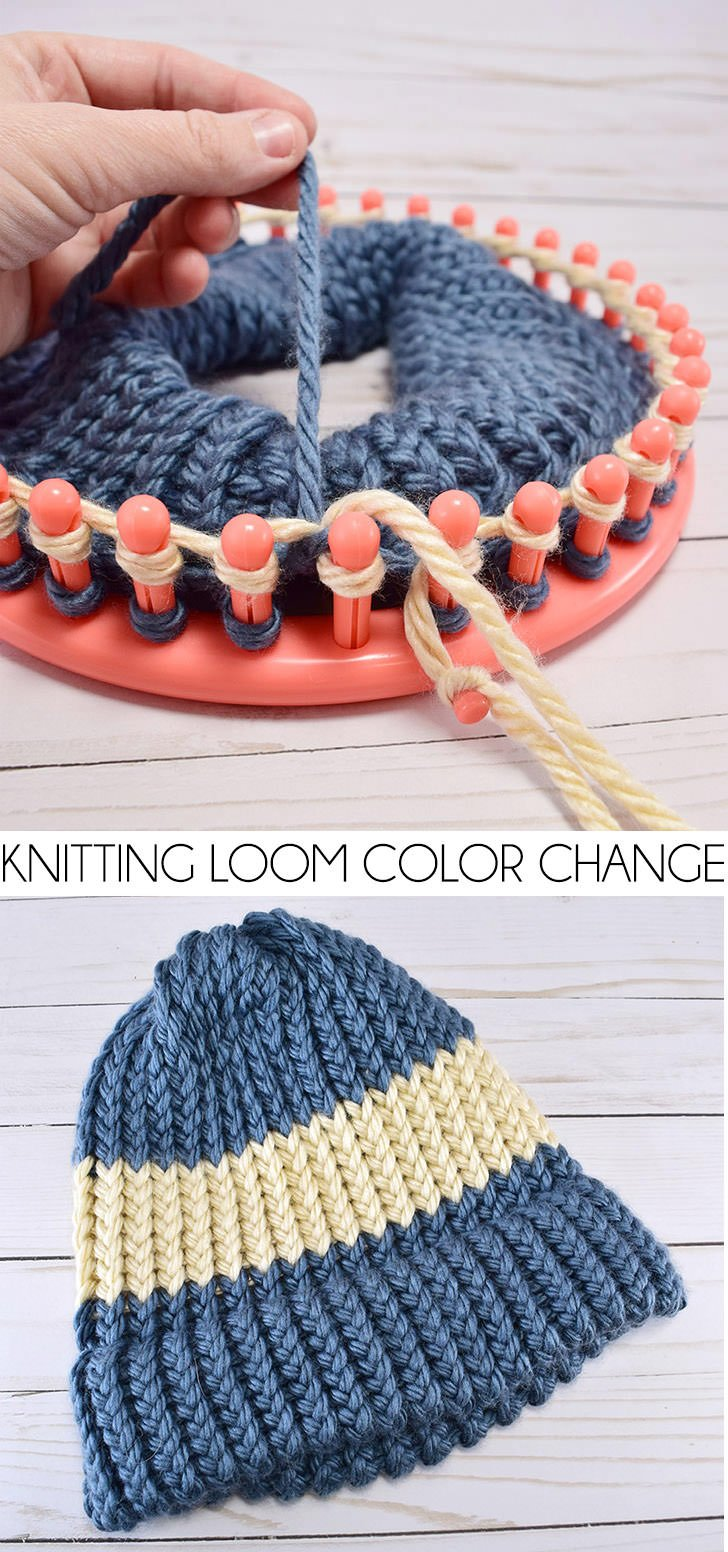 want to mix it up and add in a new color yarn on your knitting loom