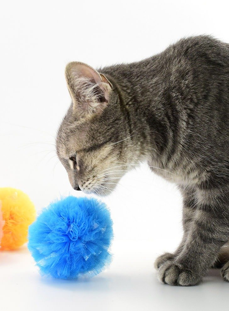 These crinkle pompom cat toys are so easy to make and have that crinkly sound that all kitties just love!
