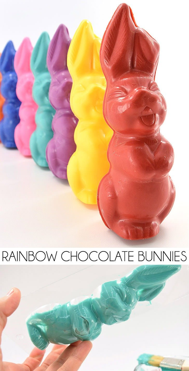 Learn how to mold chocolate with these adorable rainbow bunnies and perfectly match your chocolate bunny with this year's Easter baskets!