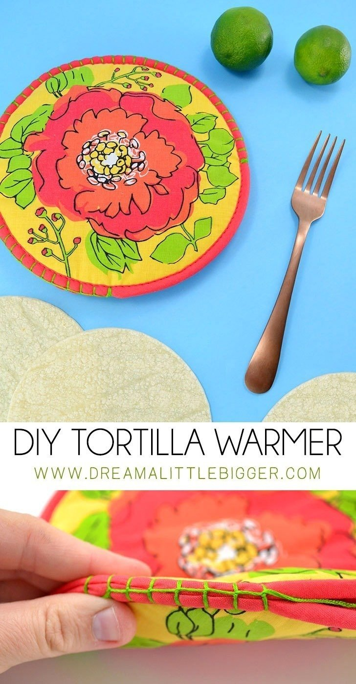 Whip up a DIY tortilla warmer in no time flat! Zap tortillas in the microwave and keep them warm on the table with this simple tutorial!