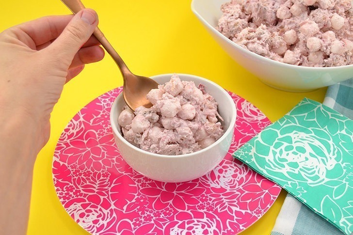 Cherry Fluffy Stuff is a cool and refreshing Cool Whip style dessert salad great for pot lucks and picnics! Whip some up in minutes!