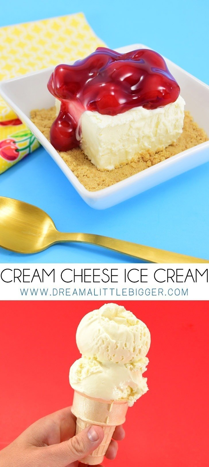 Do you love cheesecake? Do you love ice cream? You have to try this super tasty cream cheese homemade ice cream. It's SO CREAMY and NO ICE CREAM MAKER required!