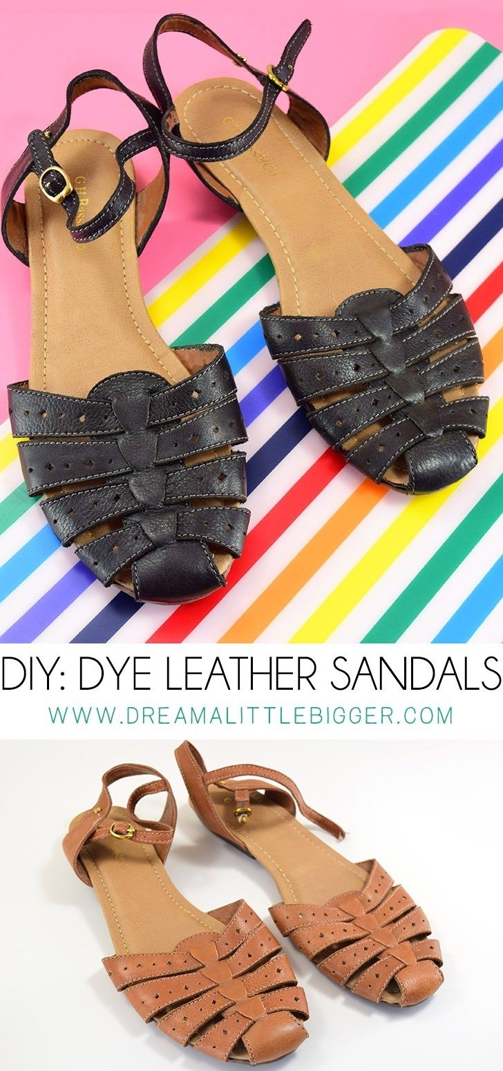 Don't toss your favorite sandals, dye them and make them like new all over again! There are SO MANY different colors you can dye them, too!