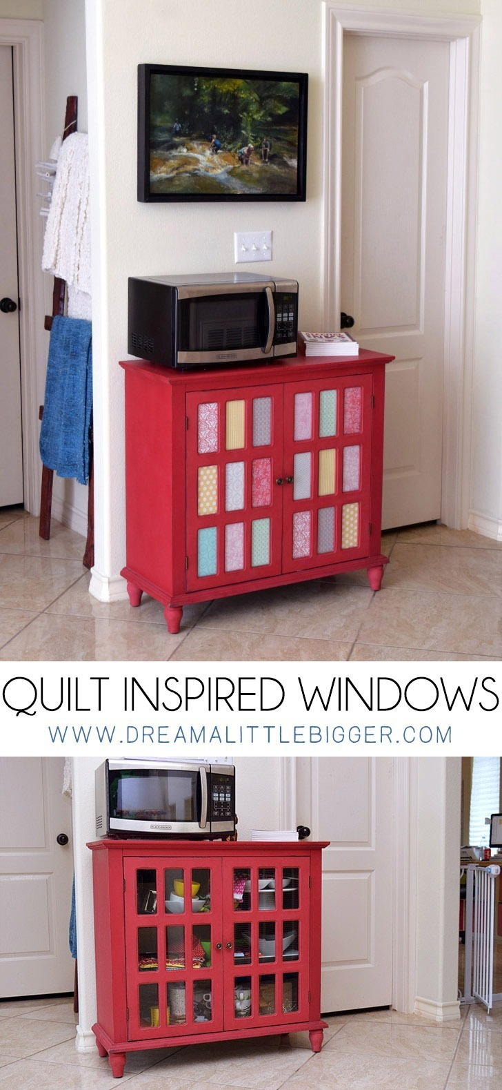 Clear glass doesn't coordinate with messy shelves! These quilt inspired window panes update my cabinet and hide away my mess.