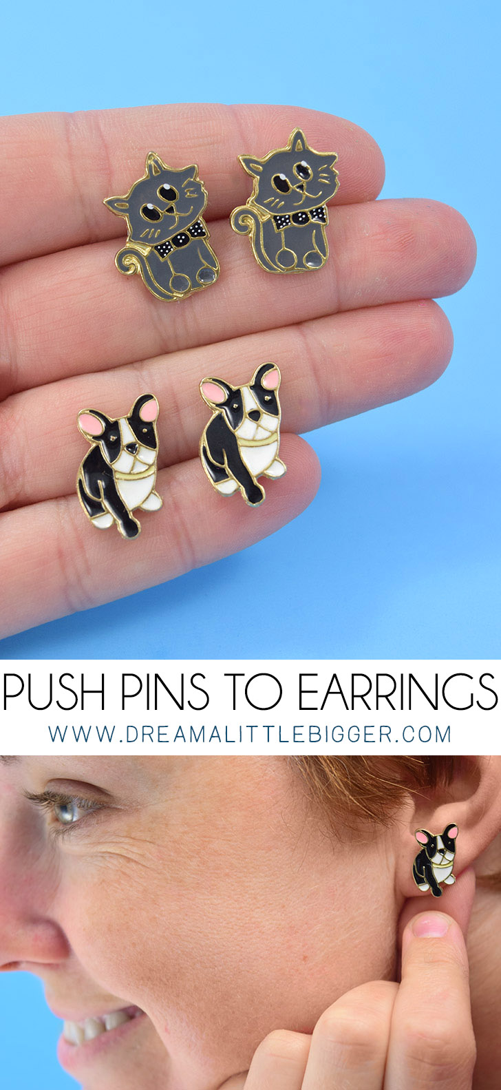 Turn cute every day objects into earrings, like these push pins! So cool!