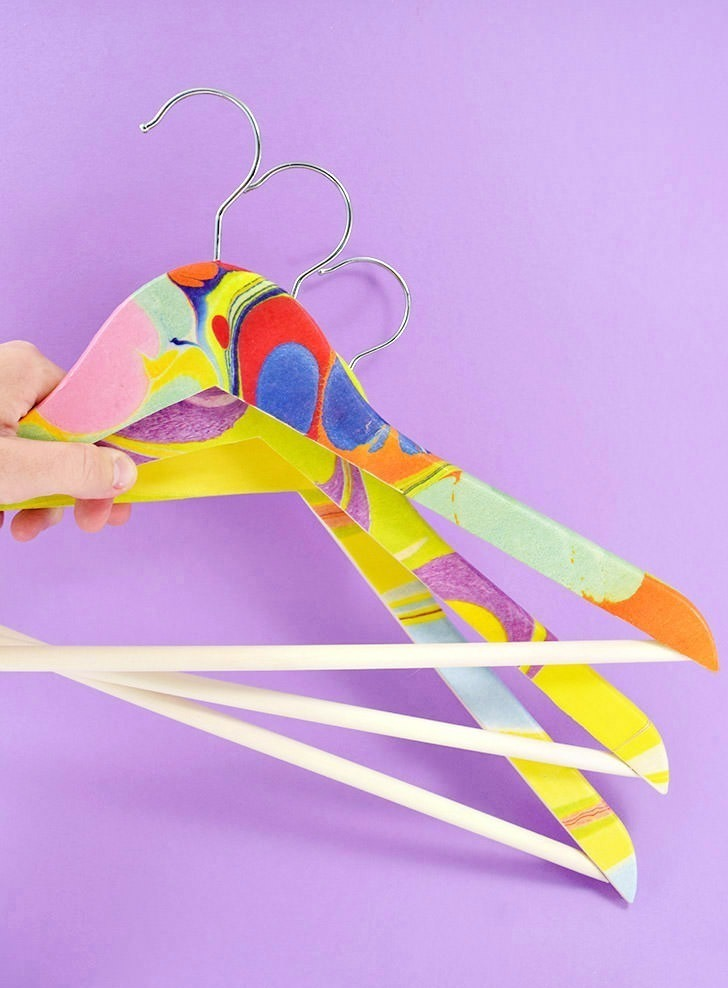 Easy Decoupage Marbled Hangers