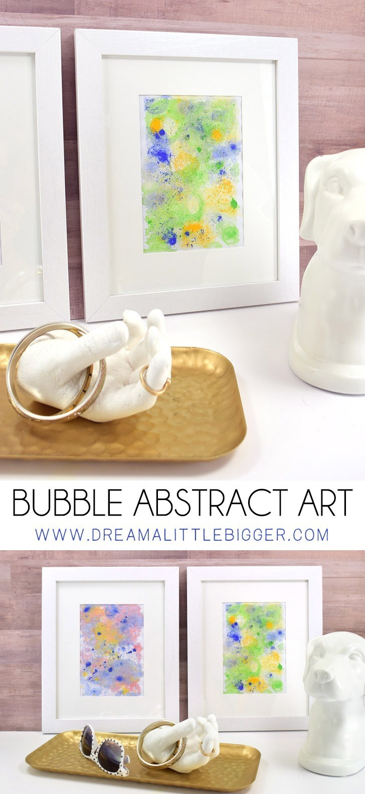 Bubble painting is a great kid's activity but it can also make some really cool DIY abstract art! Get the details to make your own bubble abstract art!