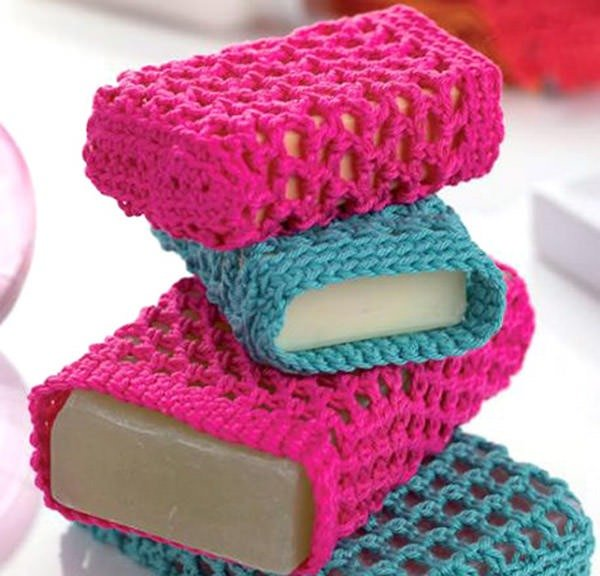 Bust that stash with these fantastic little projects perfect for some stash busting crochet like this awesome bar soap holder!