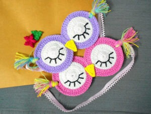 Bust that stash with these fantastic little projects perfect for some stash busting crochet like this awesome owl sleep mask!